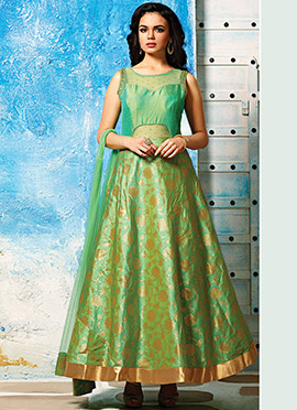 Green Foliage Designed Ankle Length Anarkali Suit