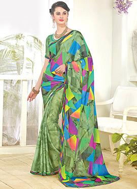 Green Geometric Pattern Georgette Printed Saree