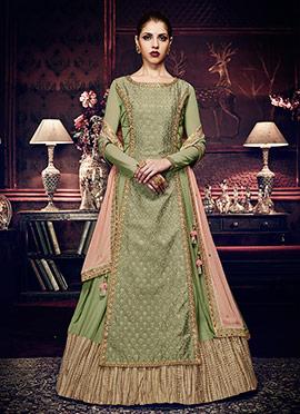 Green Georgette Abaya Style Anarkali Suit