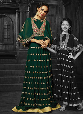 Green Georgette Abaya Style Anarkali Suit
