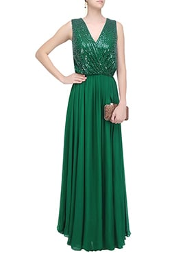Green Georgette Anarkali Gown