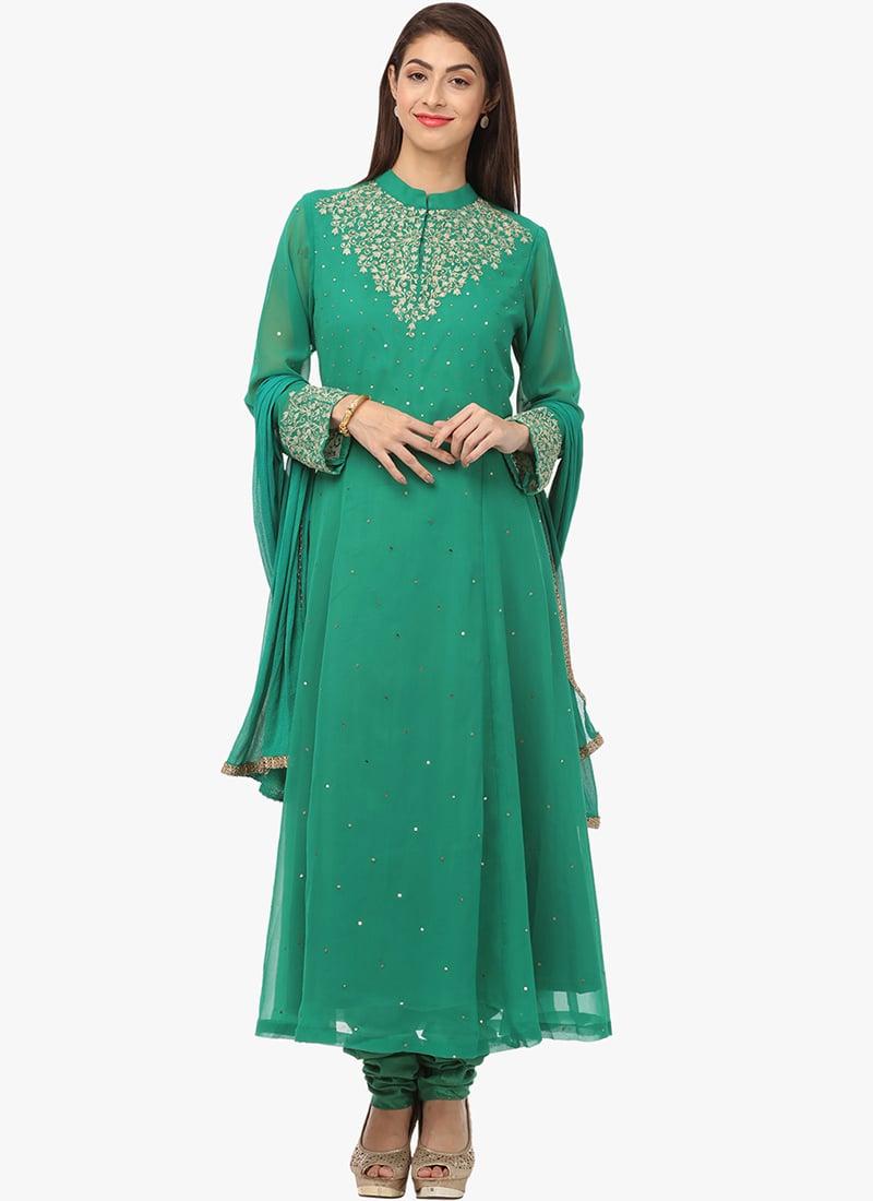 ae3bf6e38ba Buy Green Georgette Anarkali Suit