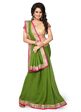 Green Georgette Border Saree