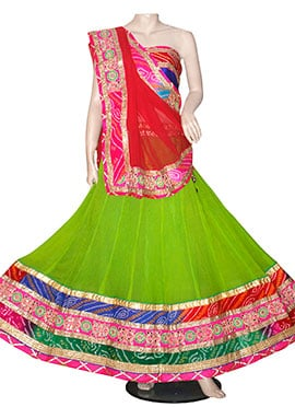 Green Georgette Chaniya Choli Lehenga