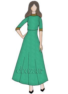 Green Georgette Closed Collar Full Length Kurti