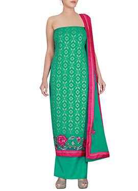 Green Chiffon Brasso Dress Material