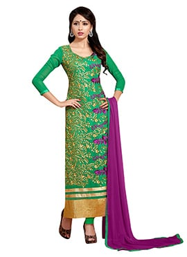 Green Georgette Embroidered Straight Suit