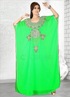 Green Georgette Farasha Fustan