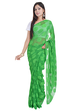 Green Georgette Floral Patterned Saree