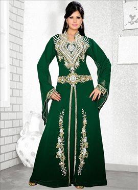 Green Georgette Fustan Dress