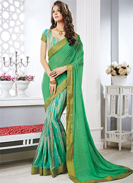 Green Georgette Half N Half Saree