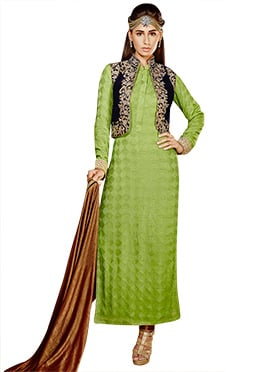 Green Georgette Jacket Style Straight Suit
