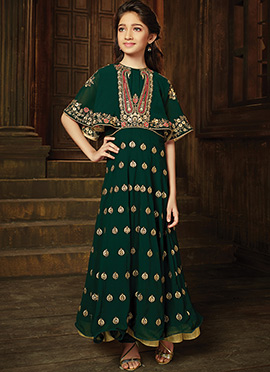 Green Georgette Kids Anarkali Suit