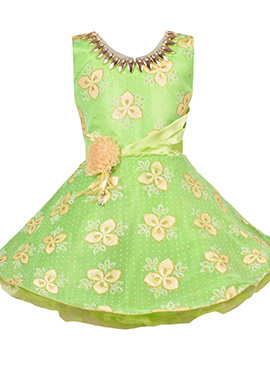 Green Georgette Kids Dress