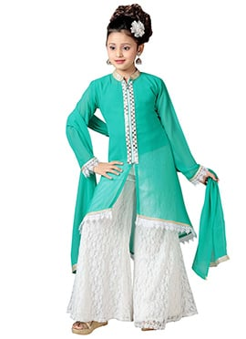 Green Georgette Kids Palazzo Suit