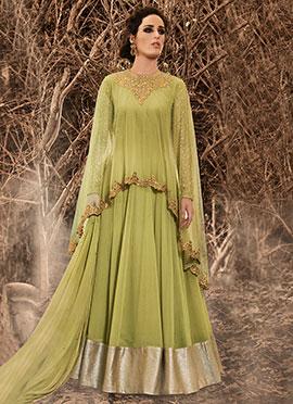 Green Georgette N Net Cape Style Anarkali Suit
