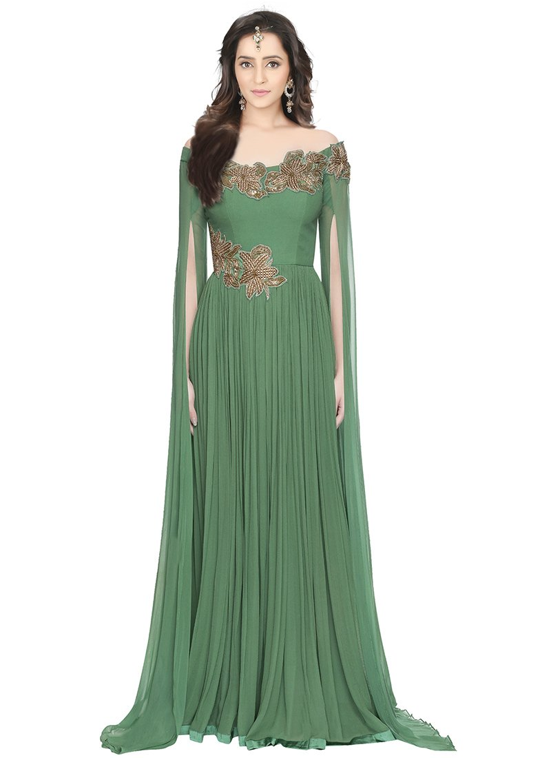 Buy Green Georgette Off Shoulder Anarkali Gown, Embroidered , Patch ...