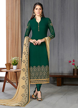 Green Georgette Pakistani Style Straight Suit