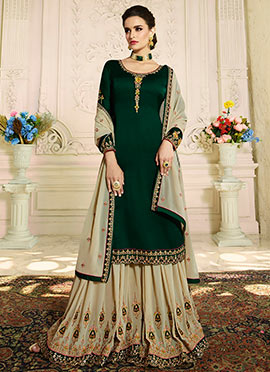 Green Satin Georgette Sharara Suit