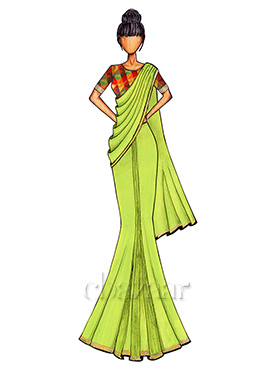 Green Georgette Saree with a Multicolored Chanderi Silk Blouse