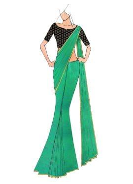 Green Georgette saree with Black Art Dupion Silk Blouse
