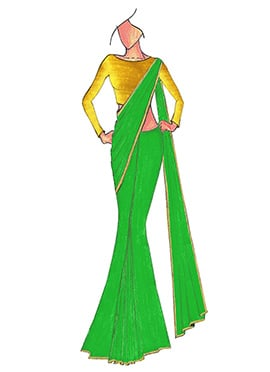 Green Georgette Saree with Yellow Blouse