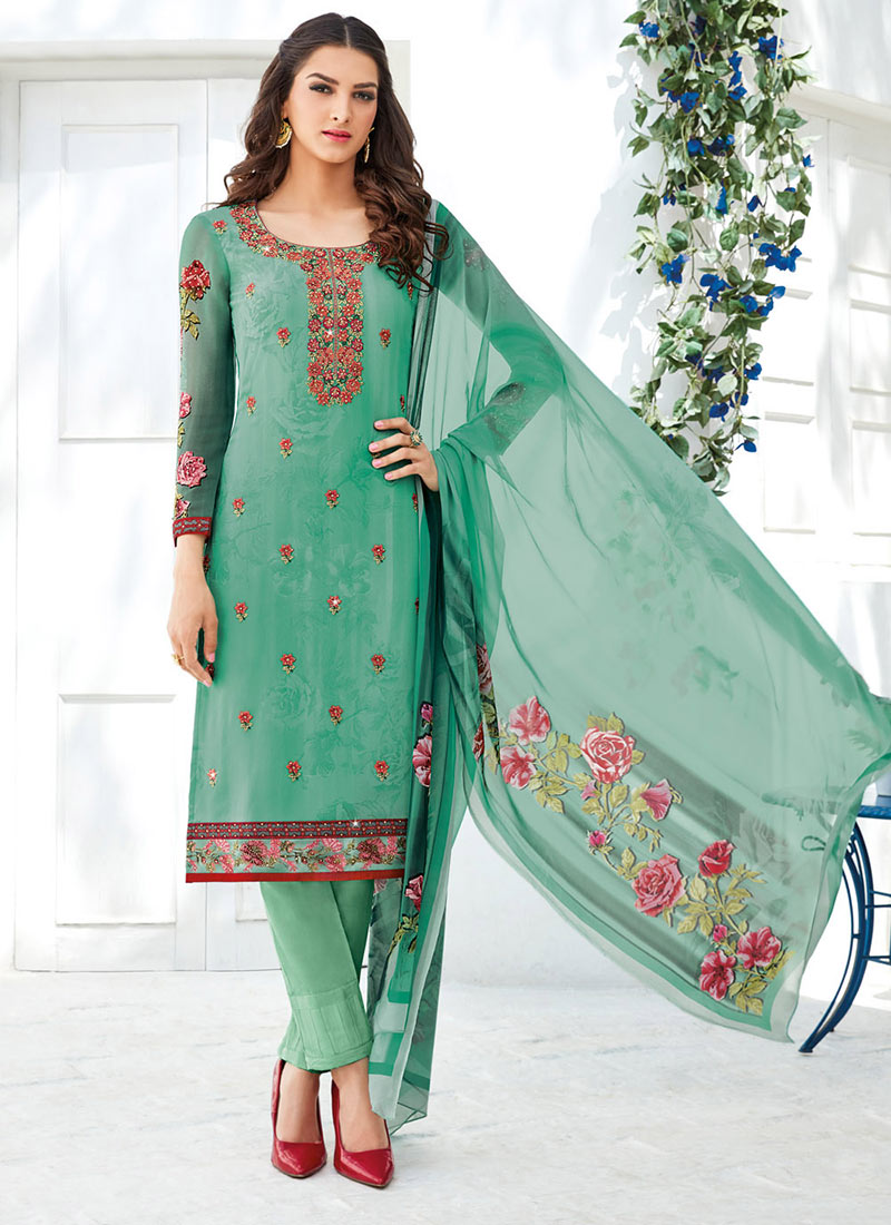 Buy Green Georgette Straight Pant Suit, Printed , Embroidered ...