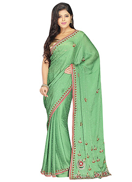 Green Handwork Crepe Jacquard Embroidered Saree