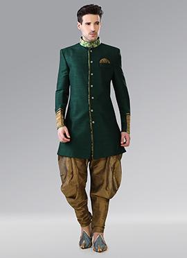 Green Indowestern Patiala Style Sherwani