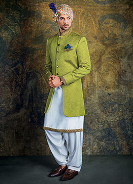 Green Indowestern Sherwani