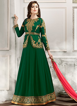 Green Jacket Style Anarkali Suit