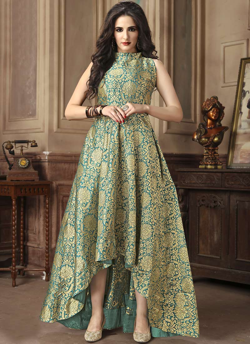 Buy Green Jacquard Gown, Jacquard, dresses and gown Online Shopping ...