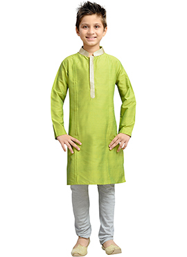 Green k And U Kurta Pyjama