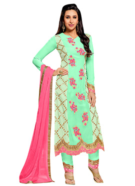 Green Karishma Kapoor Straight Pant Suit