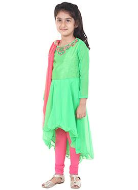 Chiquitita Green Kids Anarkali Suit