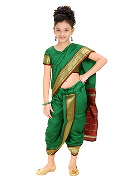 Green Kids Readymade Saree
