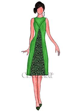 Green Layered Art silk brocade Kurti