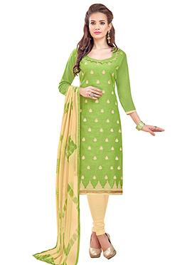 Green Linen Churidar Suit