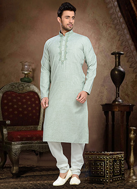 Green Linen Cotton Kurta Pyjama