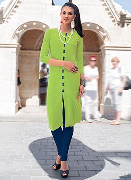 Green Linen Cotton Kurti