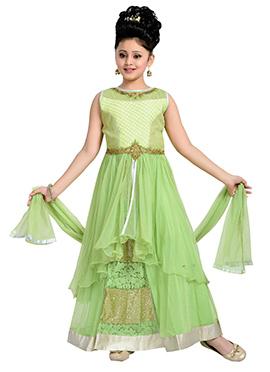 Green Long Choli Teens Lehenga Choli