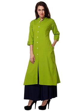 Green Long Cotton Kurti