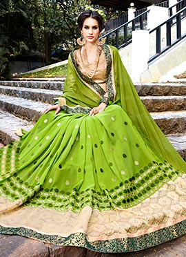 Green Lycra Georgette Embroidered Saree
