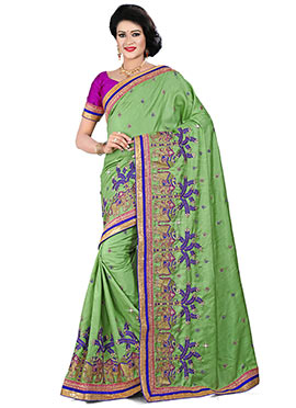 Green Manipuri Silk Saree
