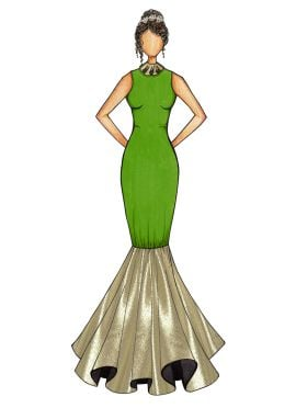 Green Mermaid Gown with Light Beige Bottom Flare