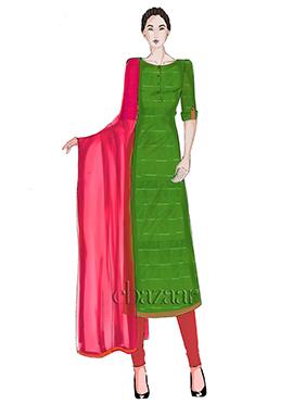 Green Mogra Silk Churidar Suit