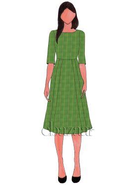 Green Mogra Silk Knee Length Kurti