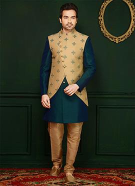Green N Beige Art Benarasi Silk Achkan Sherwani