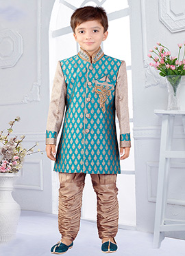 Green N Beige Art Silk Breeches Style Kids Sherwani