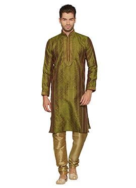 Green N Beige Art Silk Kurta Pyjama